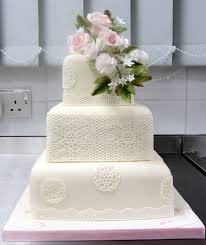 3 Tier Square Wedding Cakes Photos