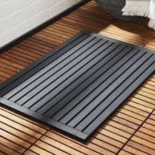 lateral teak black bath mat