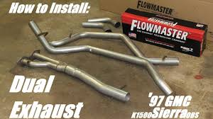 diy flowmaster dual exhaust 97 gmc k1500