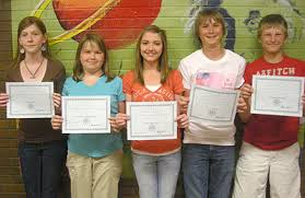 moab times independent gcms students receive awards for youth  grand county middle school students from left aubre cox bennie shumway kali