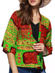 Chic Floral Hit Color Print Collarless Short Kimono In L