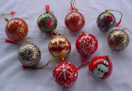 Hand Decorated Christmas Balls CHRISTMAS Ornaments Christmas Tree Baubles Exporter From Srinagar 92