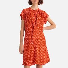 <b>Платье струящееся</b> с короткими рукавами и цветочным рисунком ...
