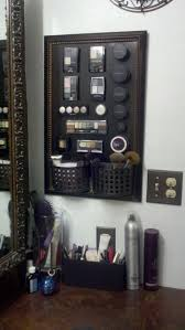 plastic makeup organizer put bathroom: master bath walk in closet make ur own magnetic makeup board cheap frame from dollar general metal board from ace hardware spray paint board n
