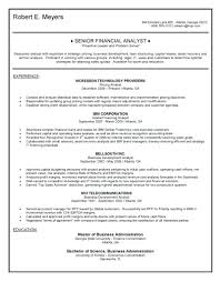 Senior Financial Analyst Resume Example Examples On Profile It