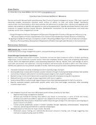 Construction Management Resume Samples Sample Management ...