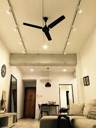 ceiling track lighting systems. Living Area, Shot From The Floor. Concrete Finished Beams. Track Lights And Black Ceiling Fan Lighting Systems R