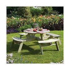 rowlinson round 8 seater picnic table garden furniture outdoor living furniture storage
