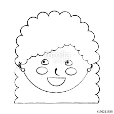 Young Cute Girl Face Happy Character Vector Illustration Sketch