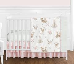 blush pink mint green and white boho watercolor woodland deer fl baby girl crib bedding set without per by sweet jojo designs 4 pieces only