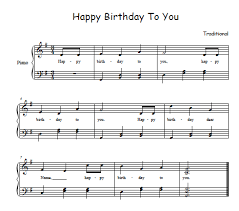 happy birthday song sheet for free