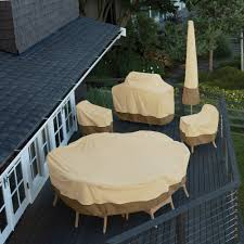 classic accessories veranda round patio table chair set cover durable and water resistant outdoor furniture cover medium 78922 com