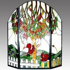 china stained glass fireplace screens glass panel