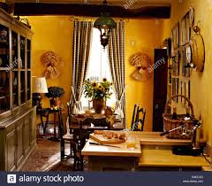 Large Kitchen Dining Room Large Painted Dresser In Bright Yellow French Country Kitchen