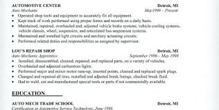 Technical Resume Objective Examples Simple Automotive Technician Resume Objective Auto Mechanic Resume