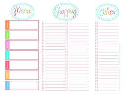 Free Weekly Meal Planner With Grocery List 20 Free Menu Planner Printables Printable Pinterest Grocery