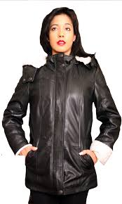 womens trendy aviator leather coat with detachable hood colors black sizes s xs