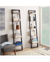 West Elm Ladder Shelf Leaning Wall Storage Narrow Shelf - White  Lacquer/Espresso