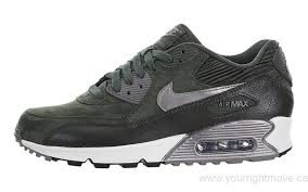 2016 nike women s air max 90 leather shoes canada carbon green sequoia sail metallic pewter