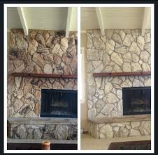 how to redo a stone fireplace image result for painted white rock fireplace before and after