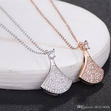 whole new 925 sterling silver small skirt fan shaped diamond pendant necklaces jewelry female fan pendant women s skirt pendant necklace pendants