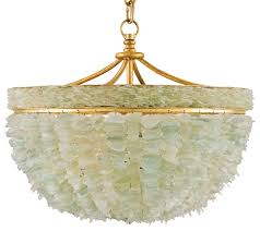 mira coastal beach marine sea glass gold 3 light bowl chandelier