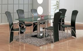 ... Home Decor Modern Dining Table Set Metal Kitchen Sets Retro Room Within  Glass And At New ...