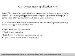 Sample Resume For A Call Center Agent Call Center Agent Application Letter