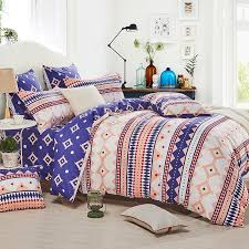 navy blue white red and light orange native american aztec stripe and ikat print bohemian gypsy twin full queen size bedding sets