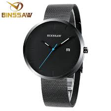 online get cheap all black watches aliexpress com alibaba group binssaw mens watches top brand luxury pure men all black watch stainless steel wrist watches ultra