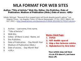 Mla Format For Web Sites Ppt Download