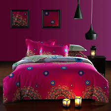moroccan style bedding sets raspberry red and beige bohemian tribal circle print renaissance pattern style unique