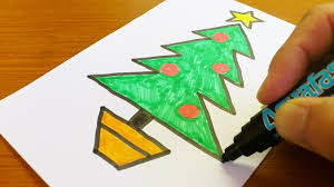 Christmas Tree In Chart Paper Very Easy How To Draw A Christmas Tree Easy And Cute Art On Paper
