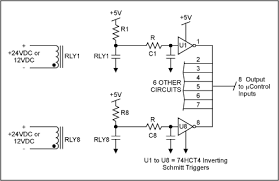 interfacing switches and relays to the real world in real time figure 4 eight bit debouncer circuit for a microcontroller