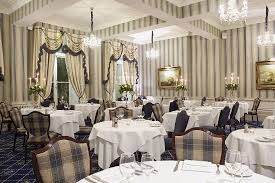 the royal hotel restaurant the ont dining room with its crystal chandeliers high