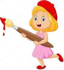 pincel pintando. niña pintando con pincel \u2014 vector de stock #90819686 n