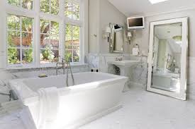 traditional bathroom lighting ideas white free standin. Full Length Bathroom Mirror Traditional With Freestanding Bathtub Wall Lighti Lighting Ideas White Free Standin T