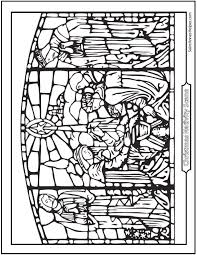 Small Picture Nativity Coloring Pages Stained Glass Art