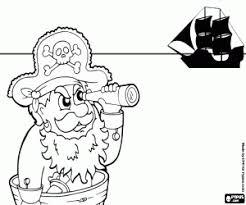 Kleurplaat Piraat Kapitein Met De Verrekijker Kleurplaten
