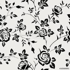 black and white floral wallpaper pattern. Contemporary And Seamless Pattern With Black Rose Silhouette On White Background Floral  Wallpaper Throughout Black And White Wallpaper Pattern L