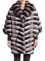 saks fifth avenue women s black chinchilla fur coat