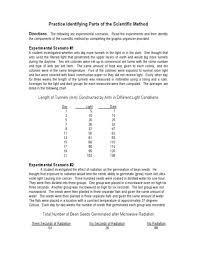 Scientific Method Practice Scenarios Worksheet Answers ...