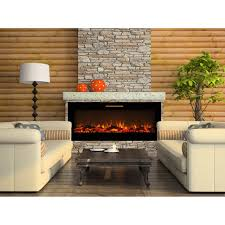 elite flame 60 inch fusion log built in smokeless wall mounted electric fireplace
