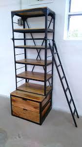 Bücherregal Holz Regal Mit Leiter 80 X 200 Metall Schwarz