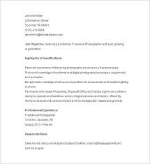 Resume Samples For Photographers Wedding Photographer Resume Sample