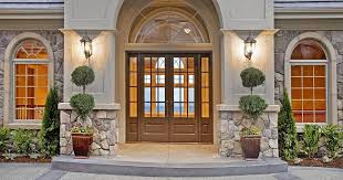 front door with windowTraditional Front Door with exterior stone floors  Arched window