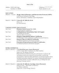Pharmacy Intern Cover Letter Resume Pharmacy Technician Sample