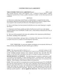Sample Construction Loan Agreement Extraordinary 44 Construction Loan Agreement Examples PDF