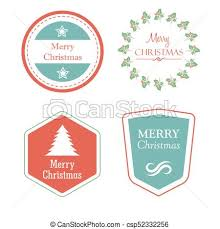 Christmas Tree Labels Merry Christmas In Holiday Labels With Christmas Tree Star Mistletoe Vector