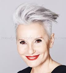 short modern hairstyle for gray hair